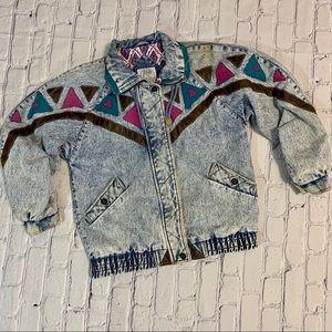 Vintage Geometric Patchwork Stonewashed Jean Coat